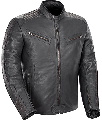 Joe Rocket Vintage Rocket Men's Leather Motorcycle Jacket (Black, X-Large)