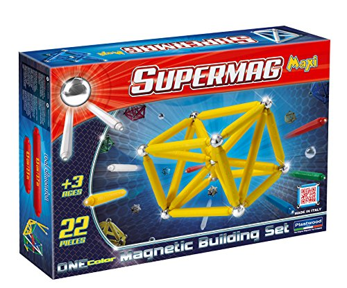 Supermag Toys - 0121 - Maxi One Color Gioco di Costruzioni Magnetico, 22 Pezzi, Colori Assortiti