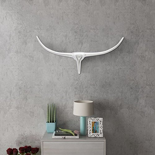 Festnight Cabeza de Toro Decorativa para Pared - Color de Plateado Material de Aluminio, 72X3X31 CM