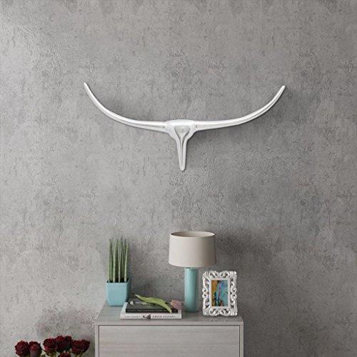 Pared decorativa pared Figura Escultura de cabeza de toro cabeza de b/úfalo de cabeza de toro cr/áneo en blanco 46/cm de alto