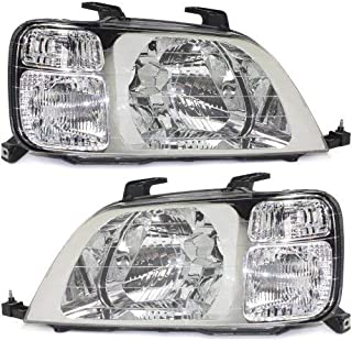 Headlight Lens and Housing Compatible with 1997-2001 Honda CR-V Halogen Passenger and Driver Side