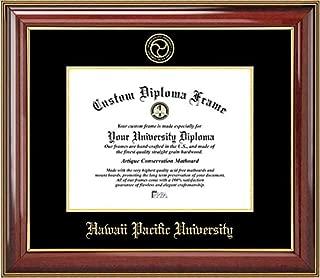 Laminated Visuals Hawaii Pacific University Sharks - Embossed Seal - Mahogany Gold Trim - Diploma Frame