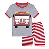 Little Boys Short Set Pajamas for Boys 100% Cotton Toddle Pjs Fire Truck Sleepwear Summer Clothes 1-7 T