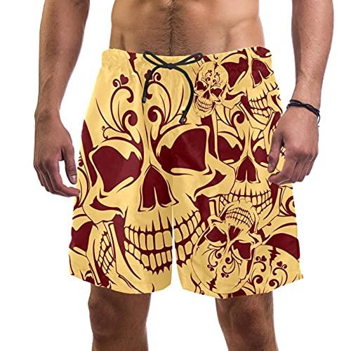 YATELI Pantalones Cortos de Playa Pantalones Cortos para Hombre de Secado rápido,Fondo Transparente con cráneo,Shorts de baño con Forro de Malla