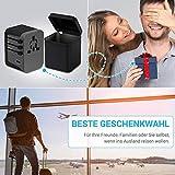 Reiseadapter MustWin Universal Reisestecker 5,6A Travel Adapter Weltweit mit 4 USB +Type C +AC Steckdosen +Doppelsicherung +Tasche für Internationale 224+ Länder Europa UK USA Australien China USW - 8