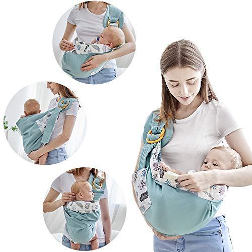 Azeekoom Marsupio Neonati, Porta Bebè Copertura Infermieristica Marsupi a Fascia con Cintura di Fissaggio Tasca Grande per Neonato a Bambino da 0 a 36 Mesi