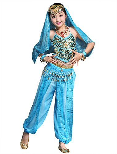 BellyQueen Mädchen Bauchtanz Rock Tanzrock Kinder Ägypten Indische Tanz Outfits 7 Stücke Blau-S