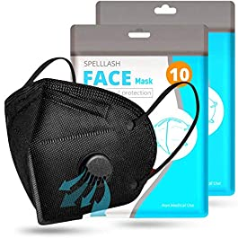 Face Mask Black with Breathing-Valve 10 Pack | Black Face Masks for Men and Woman 5 Layer Non-Woven | Disposable Face…