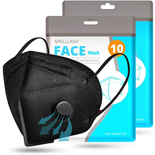 Face Mask with Breathing-Valve 10 Pack Disposable | Black Face Mask for Protection 5 Layer Non-Woven | Face Mask for Men and Women | Face Covers Lightweight and Comfortable on Skin