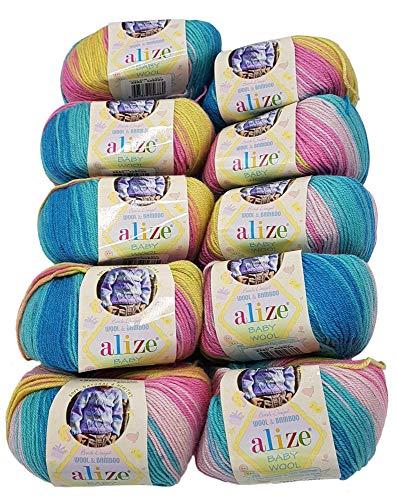10 x 50g Strickwolle Alize Baby Wool mit 20% Bambus und 40% Wolle, 500 Gramm Strickwolle mit Farbverlauf Mehrfarbig (türkis Mint pink rosa gelb 6550)