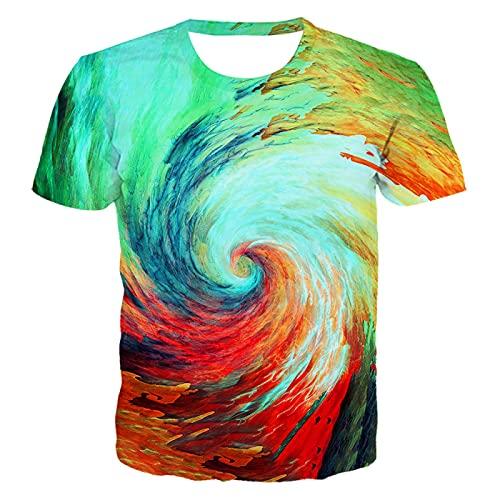 DREAMING-Verano 3D Remolino Colorido impresión Digital Casual Pareja de Manga Corta Camiseta Cuello Redondo Jersey Top 3XL