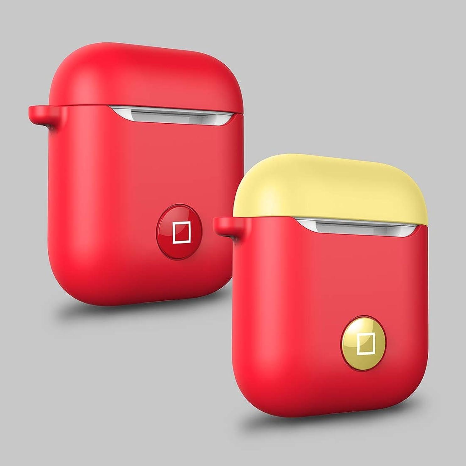 何故なの銀行ソロYWH ブルートゥースイヤホンケース Angibabe HX-0010-CMD Apple AirPods 1用落下防止ワイヤレスBluetoothイヤホンシリコン保護ケース(ブラックレッド) (色 : Red+Yellow)