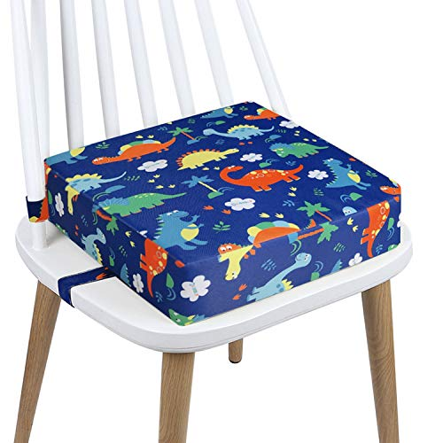Toddler Booster Seat Dining, Cartoon Canvas Washable 2 Straps Safety Buckle Kids Booster Seat for Dining Table, Portable Travel Increasing Cushion (Dinosaur-Blue)