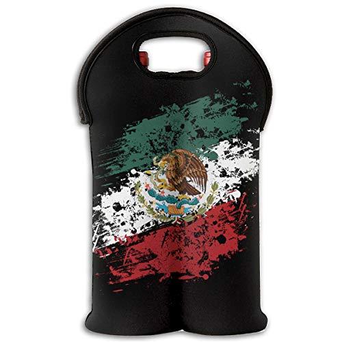 90ioup Reisetasche für 2 Flaschen mit mexikanischer Flagge