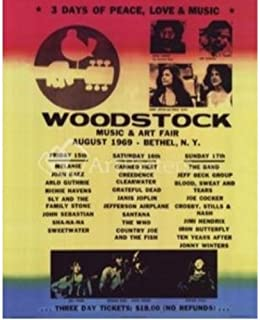 Buyartforless Woodstock Line Up 20x16 Art Print Poster 3 Days of Peace Love & Music