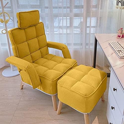 HHUJK Tumbona Plegable para el hogar, Dormitorio, Sala de Estar, sofá Perezoso, Chaise Longue, Silla nórdica para Ocio, Almuerzo, balcón, sofá Plegable, Silla (Color : Yellow)