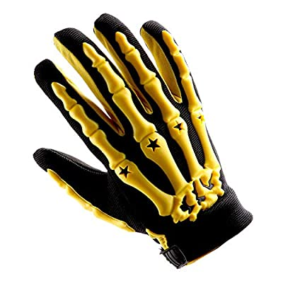 Adult Motocross Gloves Motorcycle BMX MX ATV Dirt Bike Bicycle Skeleton Cycling Gloves Yellow