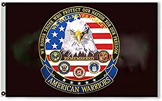 2But American Warriors We Support Our Troops Branches Black Flag Banner 3x5 Feet