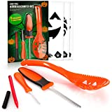 com-four® 13-teiliges Kürbis Schnitz-Set für Halloween - Messer, Löffel, Stift und Schablonen