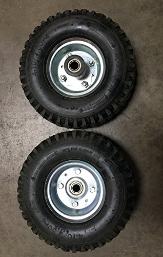 """New Pair of Non Flat Tires, Hand Truck/All-Purpose Utility Tire on Wheel, 2 1/8"""" Offset Hub, 5/8"""" Bearings, Solid Steel, Silver Wheel"""