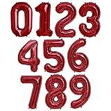 Globo Número Gigante en Metalizado Ideal para Fiesta de cumpleaños y Aniversarios - 100 cm - Hinchable (Rojo, Número 2)