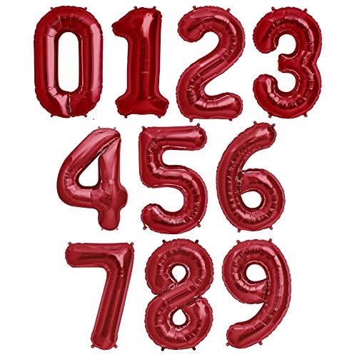 Globo Número Gigante en Metalizado Ideal para Fiesta de cumpleaños y Aniversarios - 100 cm - Hinchable (Rojo, Número 8)