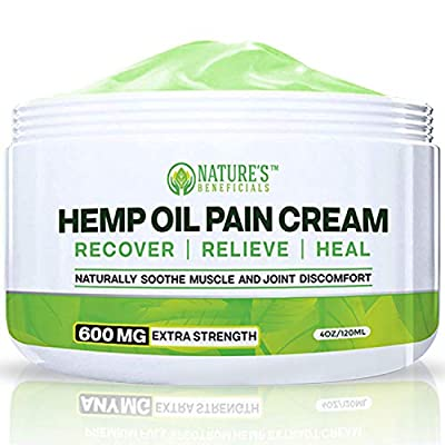 Organic Hemp Oil Extract Cream 600MG - Ultra Premium Pain Relief & Healing Anti-Inflammatory for Nerve, Back, Joint, Bone, Ankle, Knee, Chronic & Acute Pain - Non-GMO Ultra-Pure from Nature's Beneficials