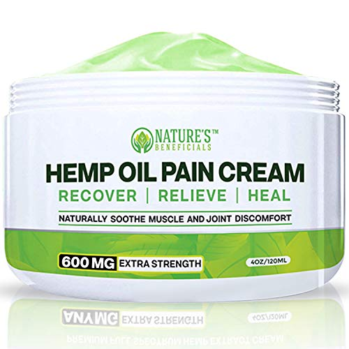 Organic Hemp Oil Extract Cream 600MG - Ultra Premium Pain Relief & Healing Anti-Inflammatory for Nerve, Back, Joint, Bone, Ankle, Knee, Chronic & Acute Pain - Non-GMO Ultra-Pure