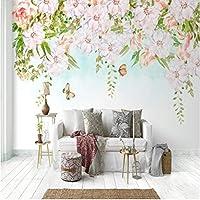 Iusasdz カスタム3D壁紙壁画北欧の牧歌的な花ロマンチックな花牧歌的なリビングルームの寝室の背景の壁の装飾-200X140Cm