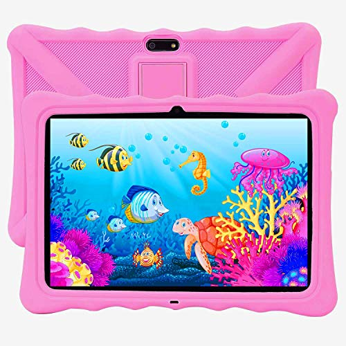 Kids Tablet, Veidoo 10 Inch Android Tablet Pc, 10.1 inch IPS Screen, Dual Camera, WiFi/GPS/OTG/Bluetooth, 3G Phone Call Dual SIM Card Slots, Parental Control APP, Tablet for Student (Pink)