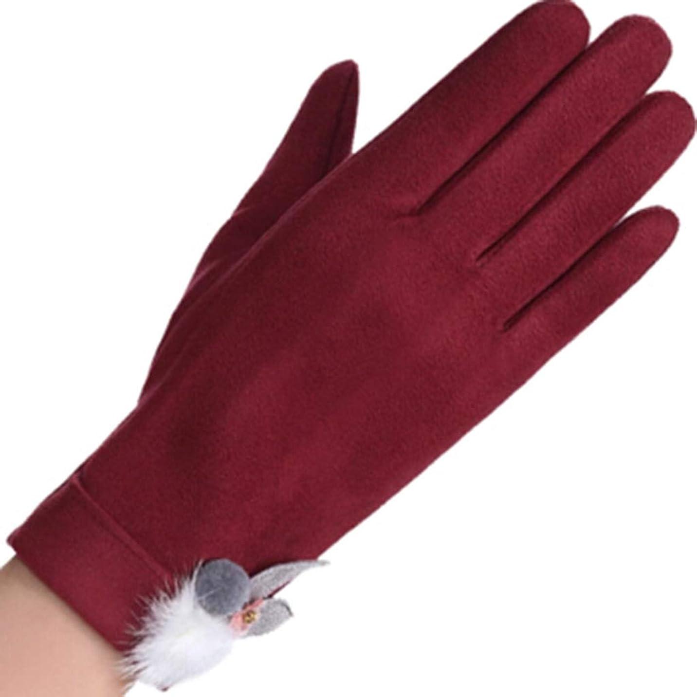 参照する貢献兵隊手袋の女性の暖かいタッチスクリーンの手袋冬の防風プラスベルベットの女性の毛の手袋の黒ワインレッド (色 : 赤ワイン)