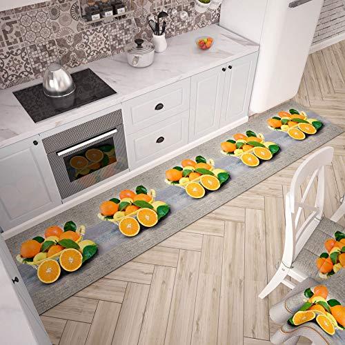 PETTI Artigiani Italiani - Tappeto Cucina Passatoia Cucina Antiscivolo e Lavabile 52x100 cm Disegno Arance 100% Made in Italy