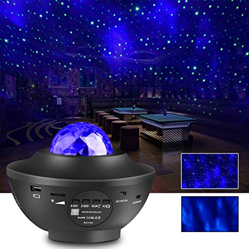 Night Light Pojector, Liwarace Star Light Projector with Remote Timer BT-4.2 Music Speaker Different Lighting Show Adjustable Patterns Rhythmical Music Light for Kid Bedroom for Night Light