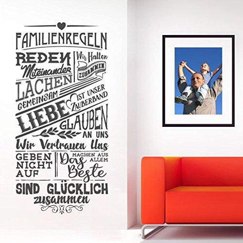 Wandaro W3434 Wandtattoo Spruch Familienregeln I schwarz (BxH) 43 x 90 cm I Wohnzimmer Flur Familie Regeln Aufkleber Wandsticker Wandaufkleber