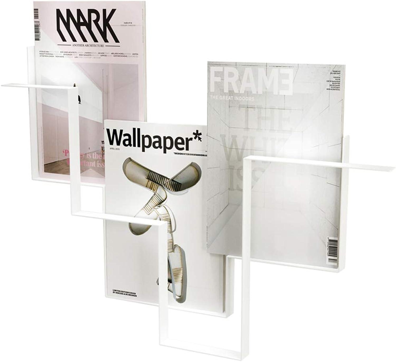 Feifei Bookshelf Simple Modern Wrought Iron Wall Hanging Bookshelf Magazine Rack 73  6  52CM (Black, White) (color   White)
