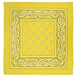 Large 100% Cotton Paisley Bandanas (22 inch x 22 inch) - Yellow Single Piece 22x22 - Use For Handkerchief, Headband, Cowboy Party, Wristband, Head Scarf - Double Sided Print