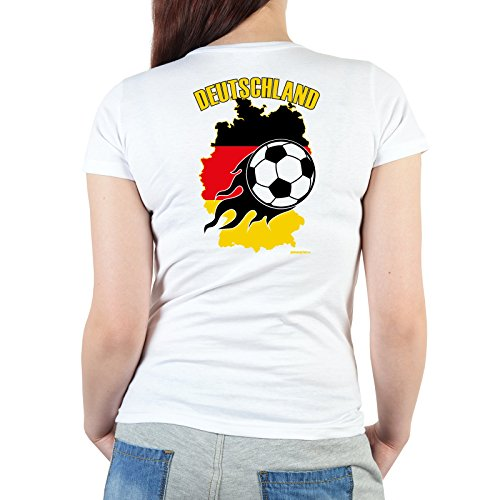Fussball Fan T-Shirt Damen mit Rückendruck Bundesliga Frauen zum Geburtstag Geschenk Motiv Deutschlandkarte Fußball Gr. M in weiss : )