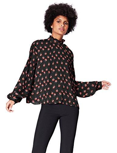 Amazon-Marke: find. Bluse Damen mit Plissee-Falten und Ballonärmeln, Mehrfarbig (38413), 36, Label: S