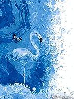 DIY デジタルペインティング大人の子供たち青いフラミンゴオイルペインティングデジタルペインティングキット壁の装飾ギフト