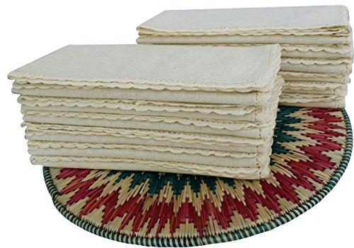 Linen Clubs – Servilletas de lino de algodón – Natural – 20 x 20 (juego de 12) – aspecto de lino premium – 100% fibra celulosa natural