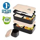 UMAMI  Lunch Box Nero Bambù | Porta Pranzo Ermetico 2 Scomparti e 3 Coperchi con Posate e Porta Condimento | Per Microonde e Lavastoviglie | Contenitori Alimentari Bento Box Portatile | No BPA