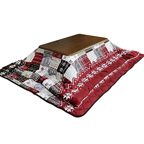 Kaffeetische Winter Kotatsu Wohnzimmer Heizung Tisch Holzofen Wärmt Tisch Rechteckig Herd Tisch Lässige Erwärmung Tisch (Color : Red, Size : 80 * 120cm)