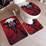 Bat-Man Har-Ley Qui-nn Art Set Alfombra de baño de 3 piezas + Contorno de absorción de agua + Tapa de inodoro