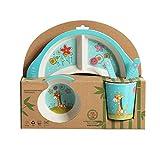 Fikujap Children's 5 PCS Cena de bambú Set Niños Tablero de Comida Placa de Plato tazón Cuchara Cuchara Tenedor Set de vajilla Vajilla de Dibujos Animados Eco Friendly, BPA Gratis,Deer