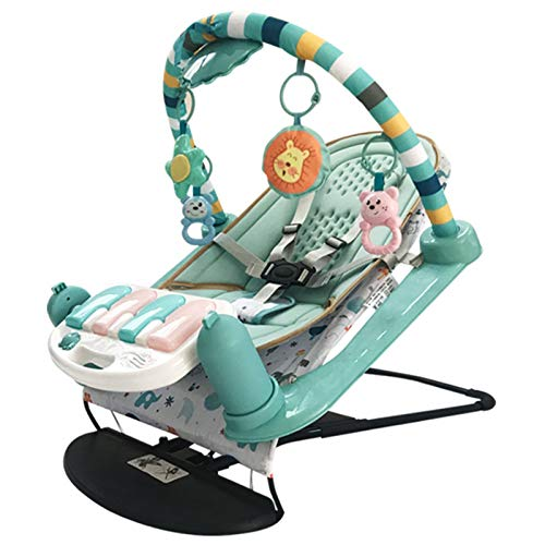 Baby Crawling Game Pad Baby Toy Pedal Piano Folding Fitness Frame Coax Baby Rocking Chair Newborn Baby 0-1 Years Old 3-6-12 Months Kick Play Piano Gym (Color : Blue, Size : 82x56x57.5cm)