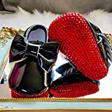 Brand Inspired Red Bling Baby Moccasin Leather Baby Shoes Crib Shoes with Bow for Baby Shower Gift