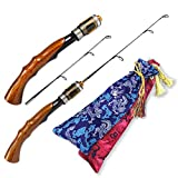Fiblink 2-Piece Portable Travel Ice Fishing Rod 21 Inches Light Power Spinning/Casting Ice Pole (Spinning-21-Light)