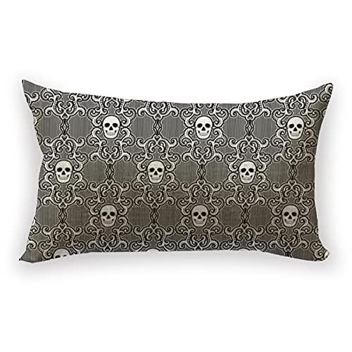 Reebos Funda de cojín de lino y algodón, diseño de calavera, rectangular, 30 x 50 cm