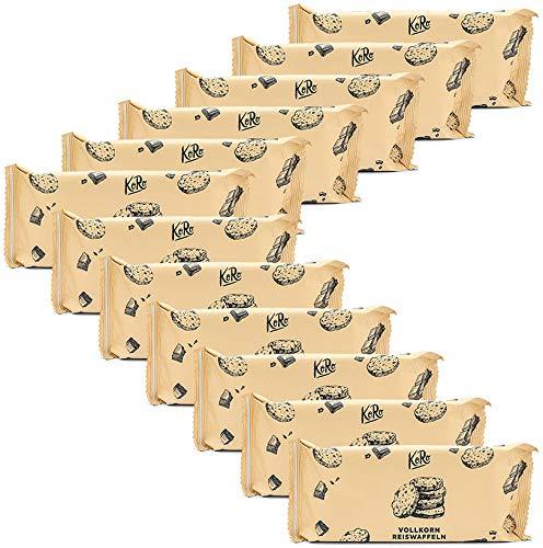 KoRo - Vollkornreiswaffeln dunkle Schokolade 12 x 90 g - Knusprige glutunfreie Waffeln aus gepufften Vollkornreis mit belgischer Zartbitterschokolade