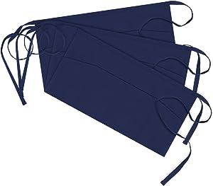 Syntus 3 Pack 3 Pockets 100% Cotton Waitress Waist Apron,11.5-inch Nautical Blue
